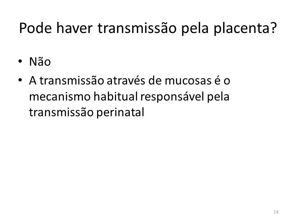 Pode haver transmissão pela placenta.