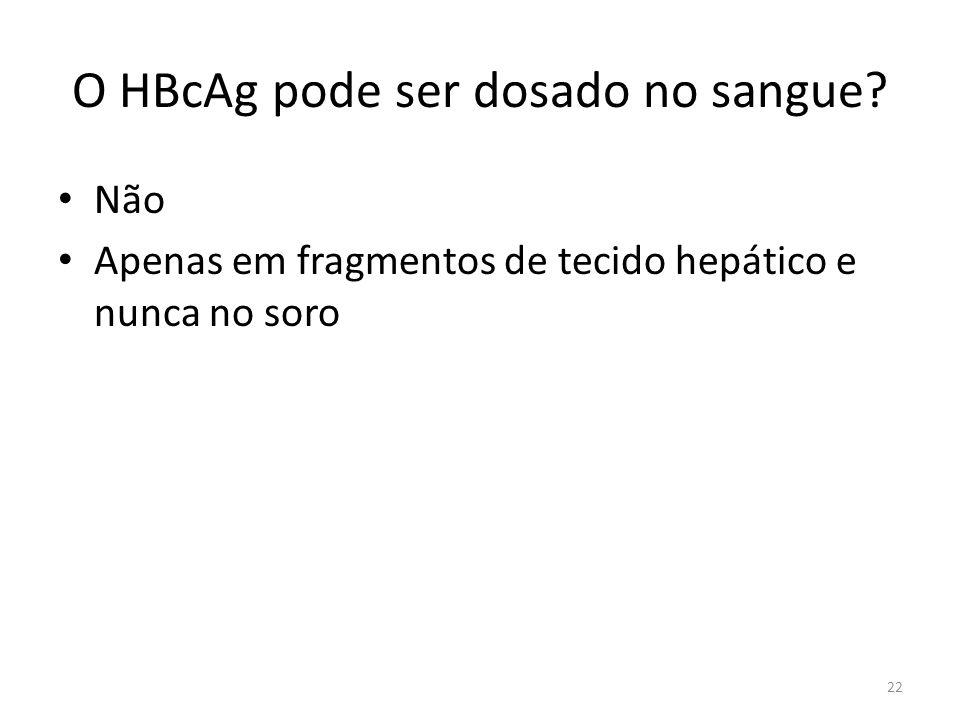 O HBcAg pode ser dosado no sangue? Não Apenas em fragmentos de tecido hepático e nunca no soro 22