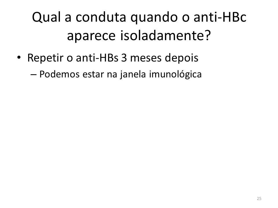 Qual a conduta quando o anti-HBc aparece isoladamente.