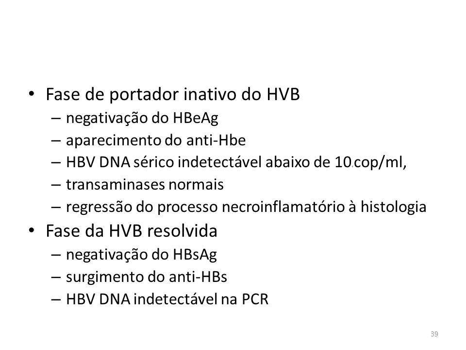 Fase de portador inativo do HVB – negativação do HBeAg – aparecimento do anti-Hbe – HBV DNA sérico indetectável abaixo de 10 4 cop/ml, – transaminases normais – regressão do processo necroinflamatório à histologia Fase da HVB resolvida – negativação do HBsAg – surgimento do anti-HBs – HBV DNA indetectável na PCR 39