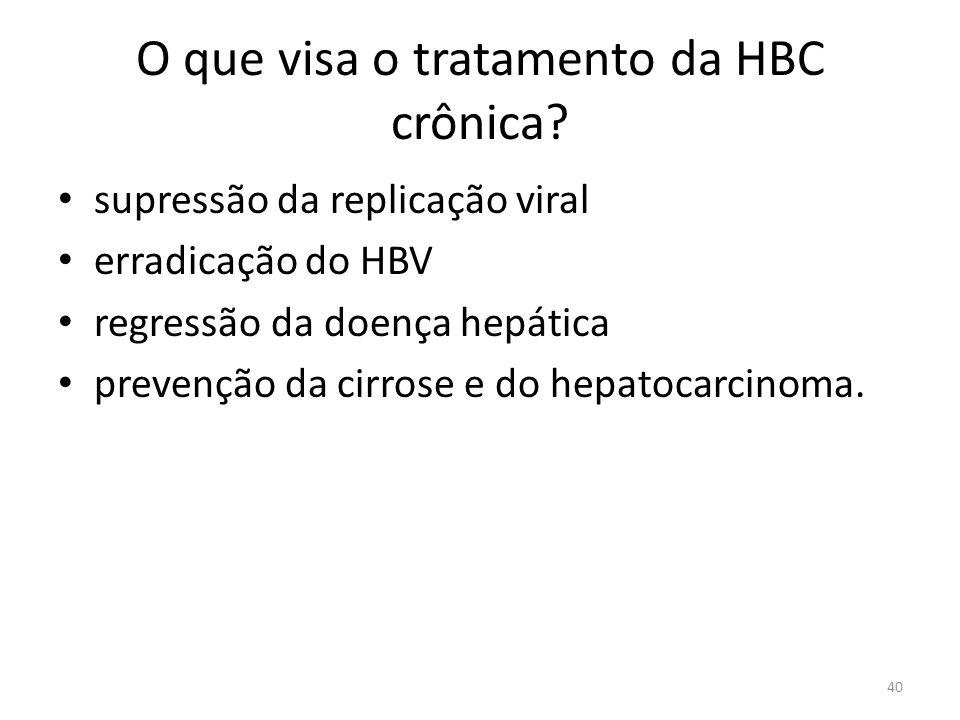 O que visa o tratamento da HBC crônica.