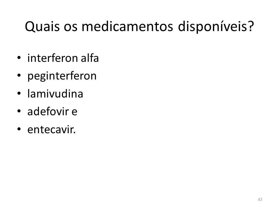Quais os medicamentos disponíveis.interferon alfa peginterferon lamivudina adefovir e entecavir.