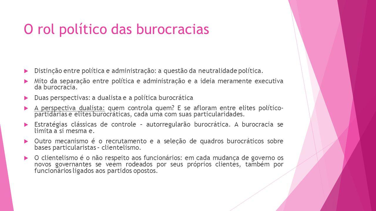 O rol político das burocracias Distinção entre política e administração: a questão da neutralidade política. Mito da separação entre política e admini