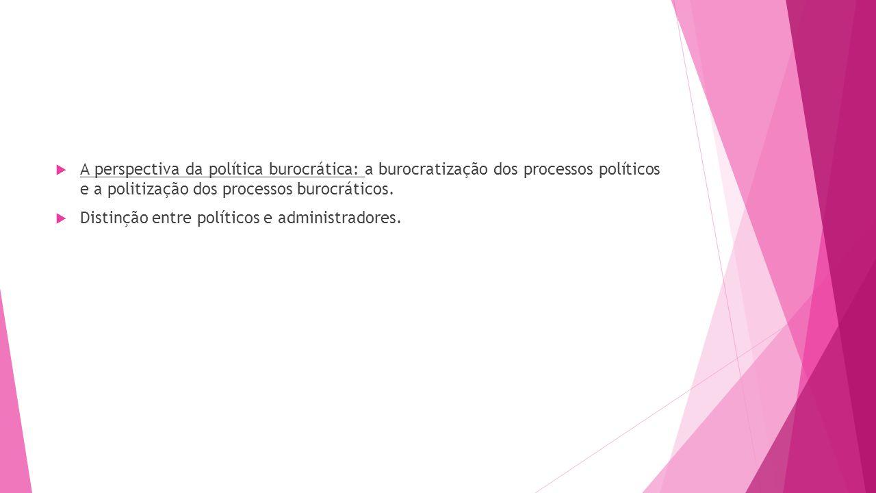A perspectiva da política burocrática: a burocratização dos processos políticos e a politização dos processos burocráticos. Distinção entre políticos