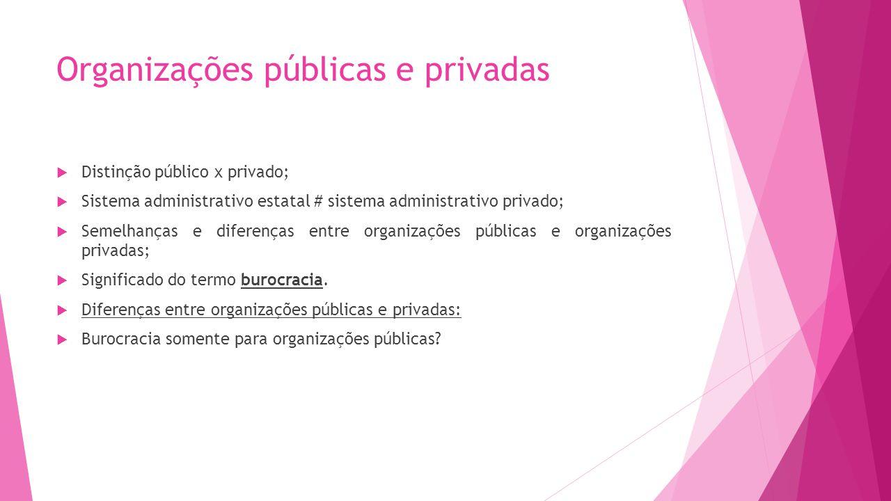 Organizações públicas e privadas Distinção público x privado; Sistema administrativo estatal # sistema administrativo privado; Semelhanças e diferença