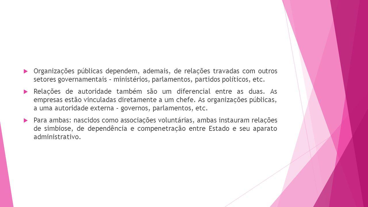 Organizações públicas dependem, ademais, de relações travadas com outros setores governamentais – ministérios, parlamentos, partidos políticos, etc. R