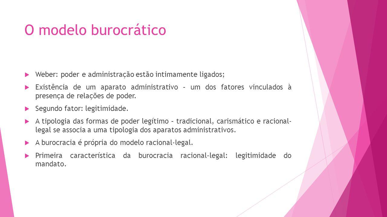 O modelo burocrático Weber: poder e administração estão intimamente ligados; Existência de um aparato administrativo – um dos fatores vinculados à pre
