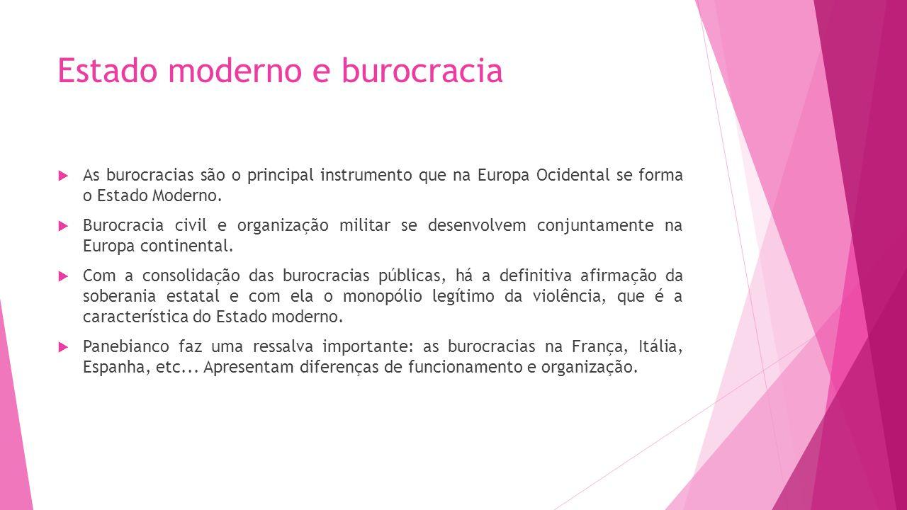 Estado moderno e burocracia As burocracias são o principal instrumento que na Europa Ocidental se forma o Estado Moderno. Burocracia civil e organizaç