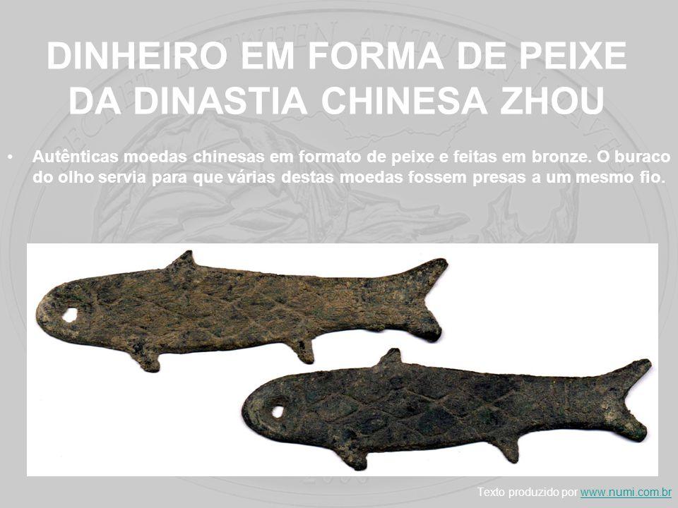 DINHEIRO EM FORMA DE PEIXE DA DINASTIA CHINESA ZHOU Autênticas moedas chinesas em formato de peixe e feitas em bronze. O buraco do olho servia para qu