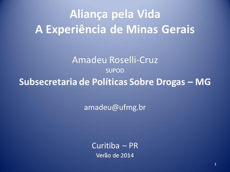 Aliança pela Vida A experiência de Minas Gerais Decreto 45.551 / 16/02/2011 Cria a Agenda Intersetorial de Prevenção ao Uso Indevido de Drogas 2