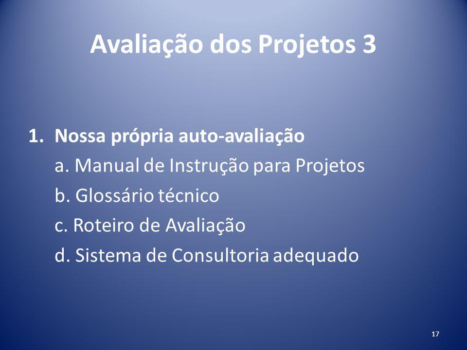 Avaliação dos Projetos 3 1.Nossa própria auto-avaliação a. Manual de Instrução para Projetos b. Glossário técnico c. Roteiro de Avaliação d. Sistema d
