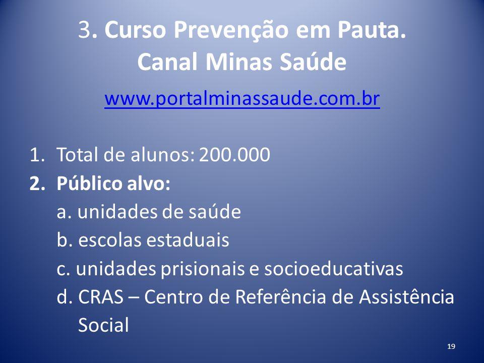 3. Curso Prevenção em Pauta. Canal Minas Saúde www.portalminassaude.com.br 1.Total de alunos: 200.000 2.Público alvo: a. unidades de saúde b. escolas