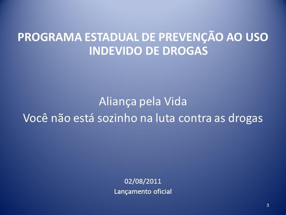 Aliança pela Vida A experiência de Minas Gerais Art.1º- 1.Órgãos públicos com programas sociais deverão atuar na prevenção do abuso de drogas, com ações transversais obrigatórias.