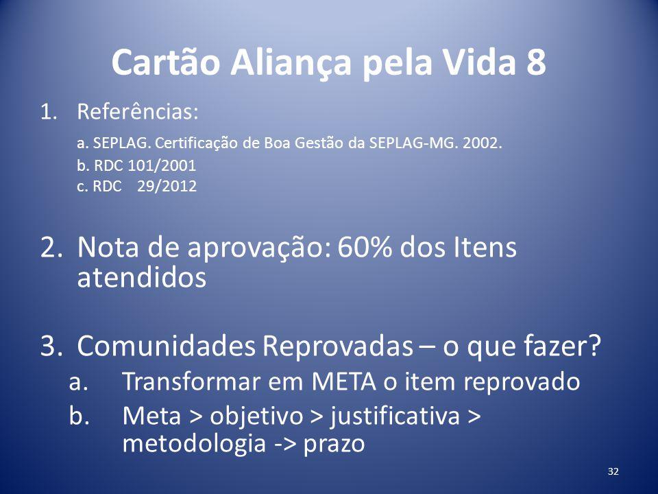 Cartão Aliança pela Vida 8 1.Referências: a. SEPLAG. Certificação de Boa Gestão da SEPLAG-MG. 2002. b. RDC 101/2001 c. RDC 29/2012 2.Nota de aprovação