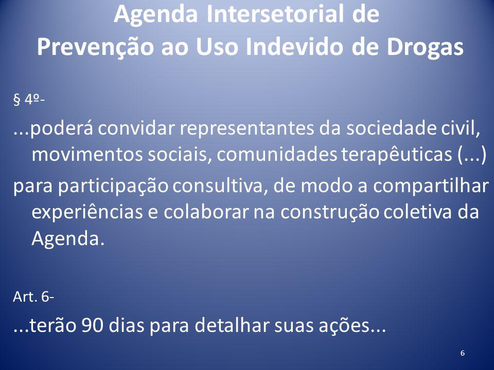 Agenda Intersetorial de Prevenção ao Uso Indevido de Drogas § 4º-...poderá convidar representantes da sociedade civil, movimentos sociais, comunidades