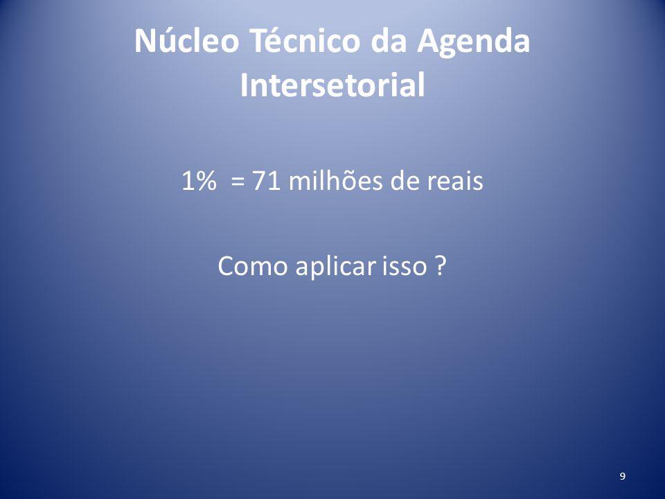 Núcleo Técnico da Agenda Intersetorial 1% = 71 milhões de reais Como aplicar isso ? 9