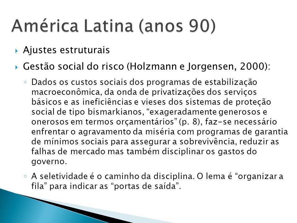 Ajustes estruturais Gestão social do risco (Holzmann e Jorgensen, 2000): Dados os custos sociais dos programas de estabilização macroeconômica, da ond