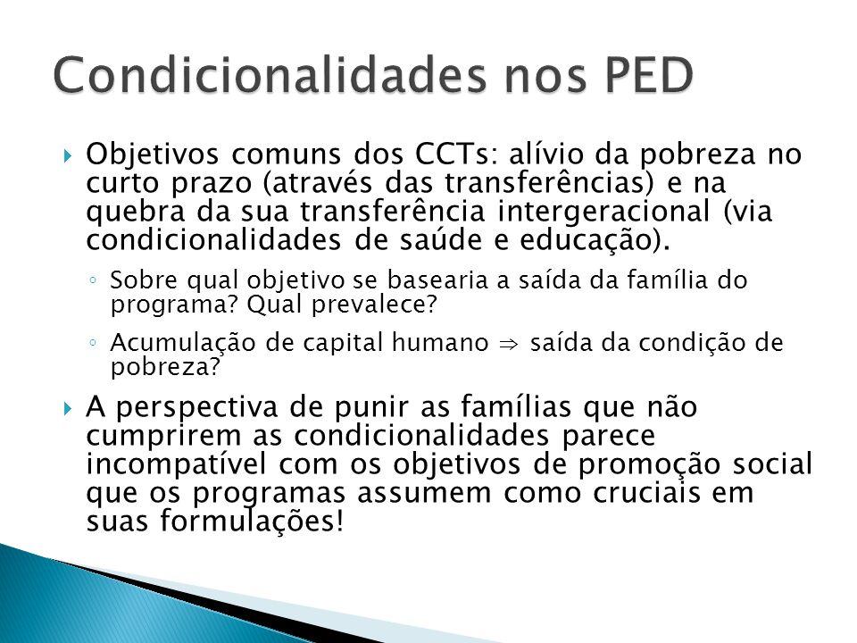 Objetivos comuns dos CCTs: alívio da pobreza no curto prazo (através das transferências) e na quebra da sua transferência intergeracional (via condici