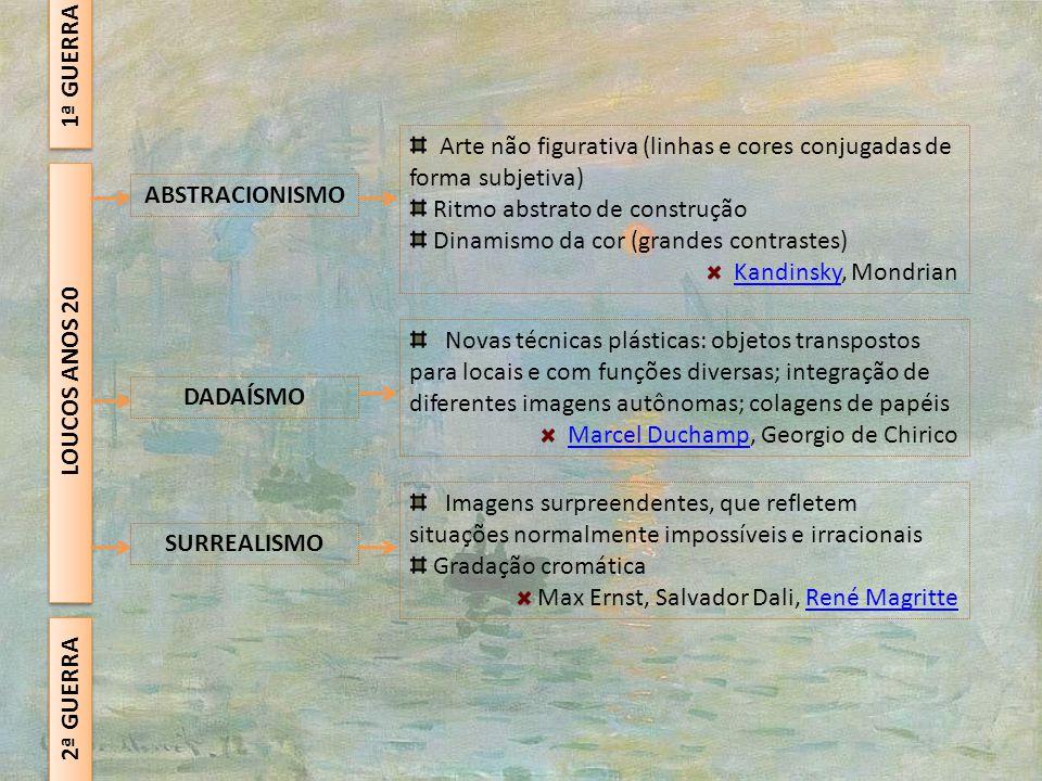 2ª GUERRA LOUCOS ANOS 20 ABSTRACIONISMO DADAÍSMO SURREALISMO Arte não figurativa (linhas e cores conjugadas de forma subjetiva) Ritmo abstrato de cons