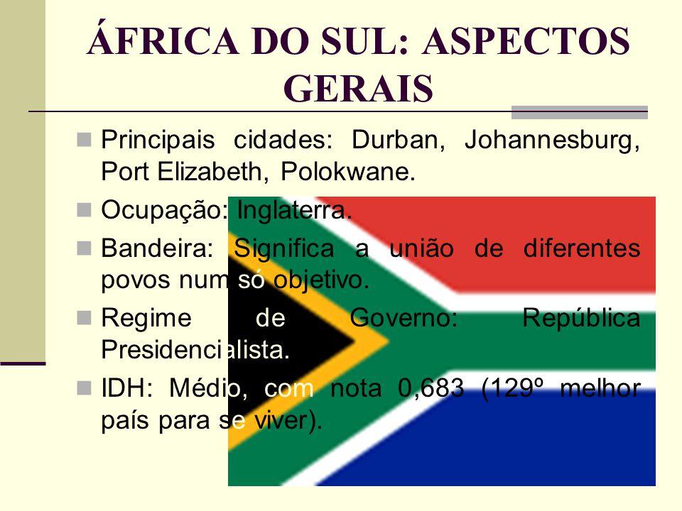ÁFRICA DO SUL: ASPECTOS GERAIS Principais cidades: Durban, Johannesburg, Port Elizabeth, Polokwane. Ocupação: Inglaterra. Bandeira: Significa a união