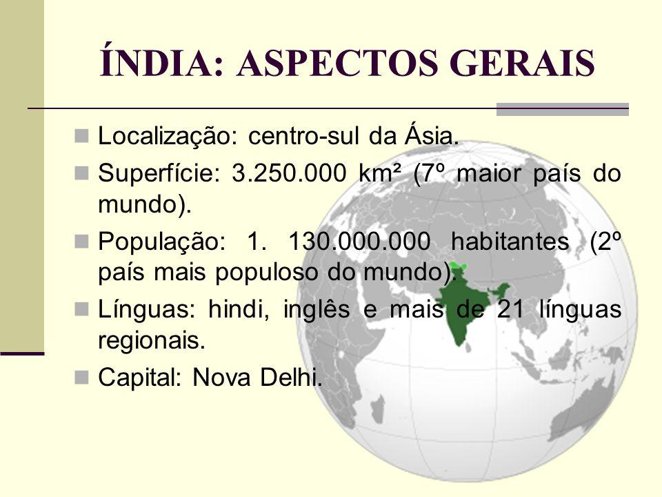 ÍNDIA: ASPECTOS GERAIS Localização: centro-sul da Ásia. Superfície: 3.250.000 km² (7º maior país do mundo). População: 1. 130.000.000 habitantes (2º p