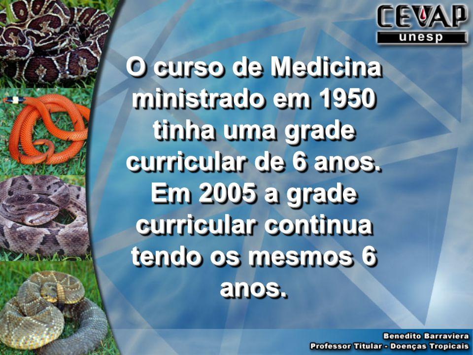 O curso de Medicina ministrado em 1950 tinha uma grade curricular de 6 anos.
