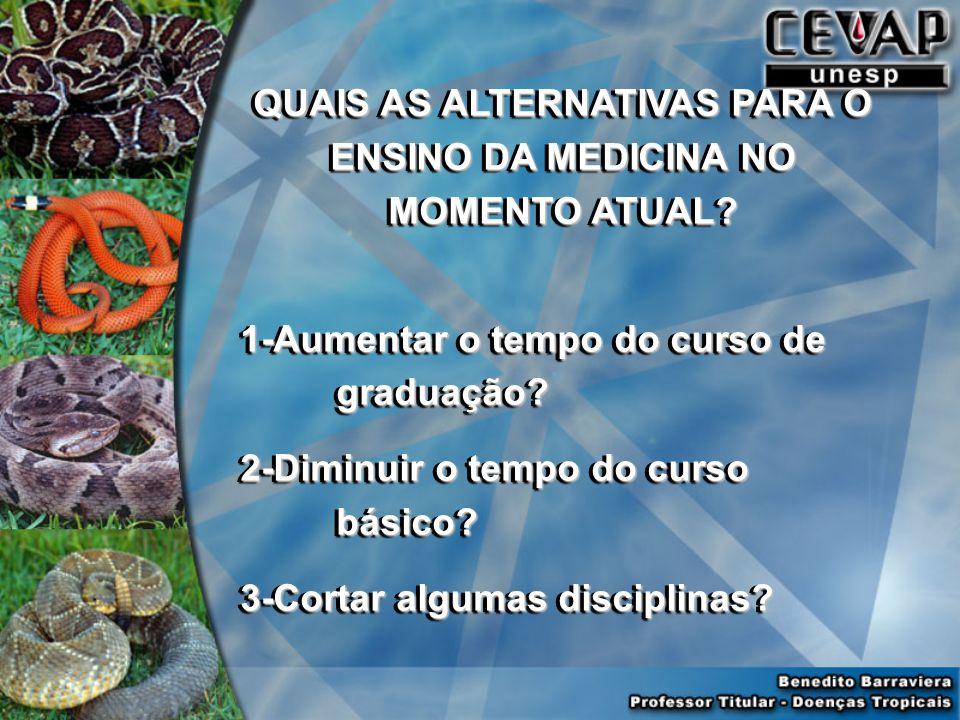 QUAIS AS ALTERNATIVAS PARA O ENSINO DA MEDICINA NO MOMENTO ATUAL.