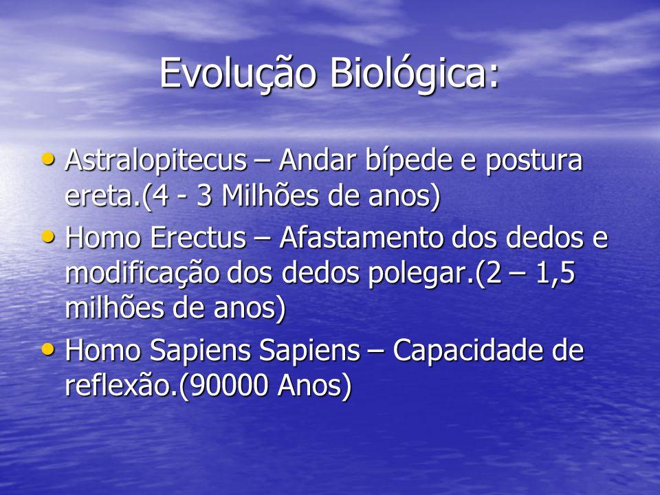 Evolução Biológica: Astralopitecus – Andar bípede e postura ereta.(4 - 3 Milhões de anos) Astralopitecus – Andar bípede e postura ereta.(4 - 3 Milhões
