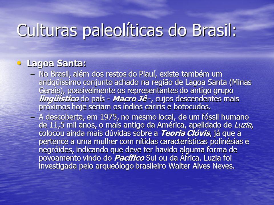 Culturas paleolíticas do Brasil: Lagoa Santa: Lagoa Santa: –No Brasil, além dos restos do Piauí, existe também um antiqüíssimo conjunto achado na regi