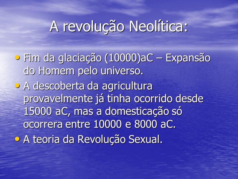 A revolução Neolítica: Fim da glaciação (10000)aC – Expansão do Homem pelo universo. Fim da glaciação (10000)aC – Expansão do Homem pelo universo. A d