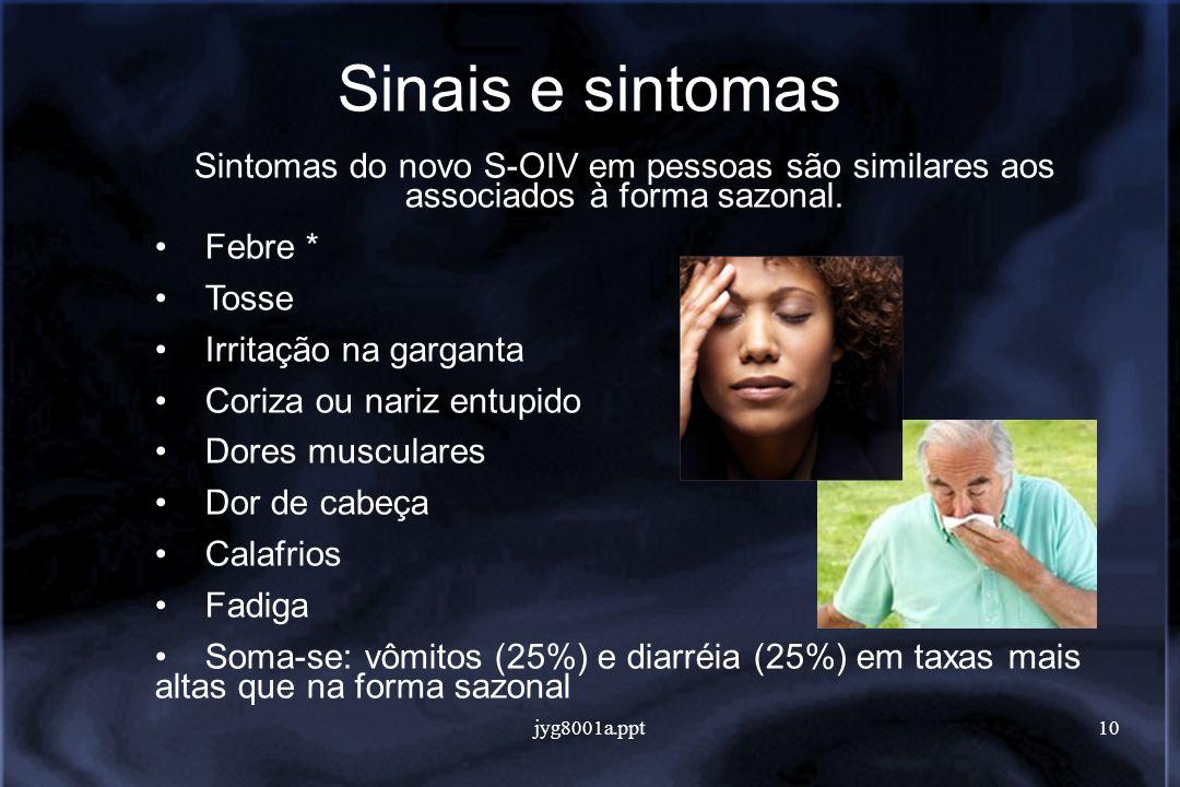 jyg8001a.ppt10 Sinais e sintomas Sintomas do novo S-OIV em pessoas são similares aos associados à forma sazonal.