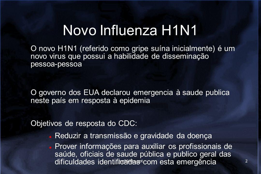 jyg8001a.ppt3 Novo Influenza H1N1 Primeiros casos detectados em abril de 2009 em San Diego e Imperial County na Califórnia e em Guadalupe County no Texas.