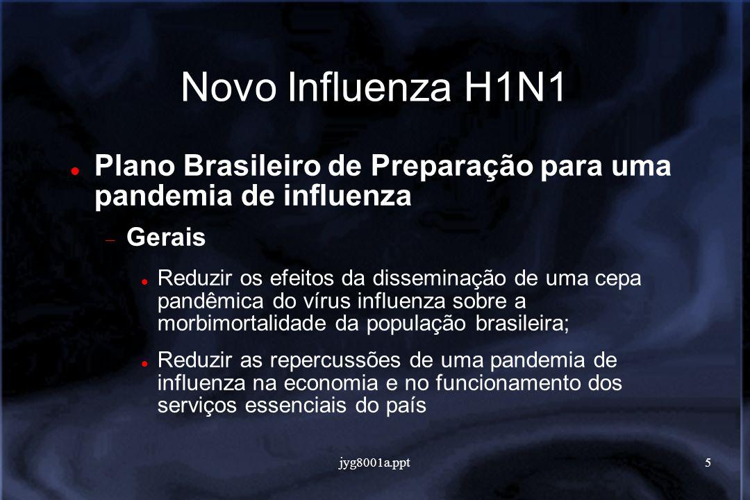 5 Novo Influenza H1N1 Plano Brasileiro de Preparação para uma pandemia de influenza Gerais Reduzir os efeitos da disseminação de uma cepa pandêmica do vírus influenza sobre a morbimortalidade da população brasileira; Reduzir as repercussões de uma pandemia de influenza na economia e no funcionamento dos serviços essenciais do país