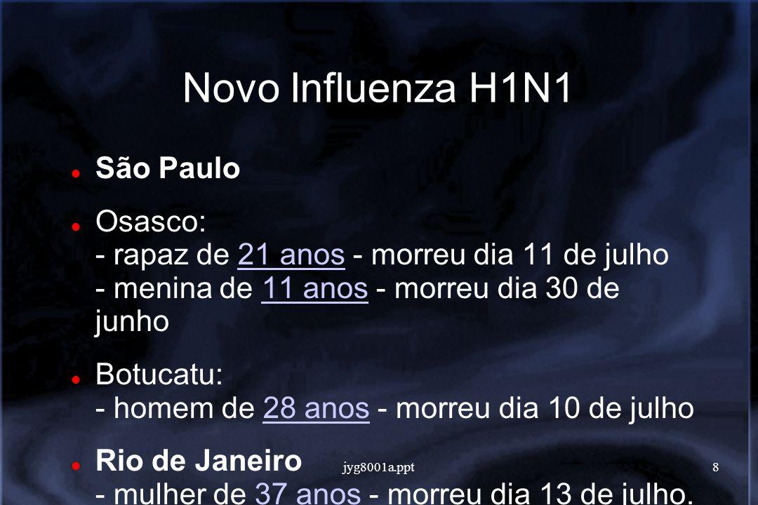 jyg8001a.ppt8 Novo Influenza H1N1 São Paulo Osasco: - rapaz de 21 anos - morreu dia 11 de julho - menina de 11 anos - morreu dia 30 de junho21 anos11 anos Botucatu: - homem de 28 anos - morreu dia 10 de julho28 anos Rio de Janeiro - mulher de 37 anos - morreu dia 13 de julho.37 anos