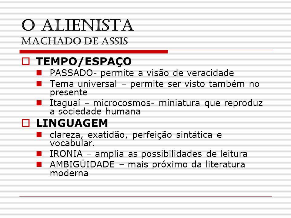 O ALIENISTA MACHADO DE ASSIS TEMPO/ESPAÇO PASSADO- permite a visão de veracidade Tema universal – permite ser visto também no presente Itaguaí – micro