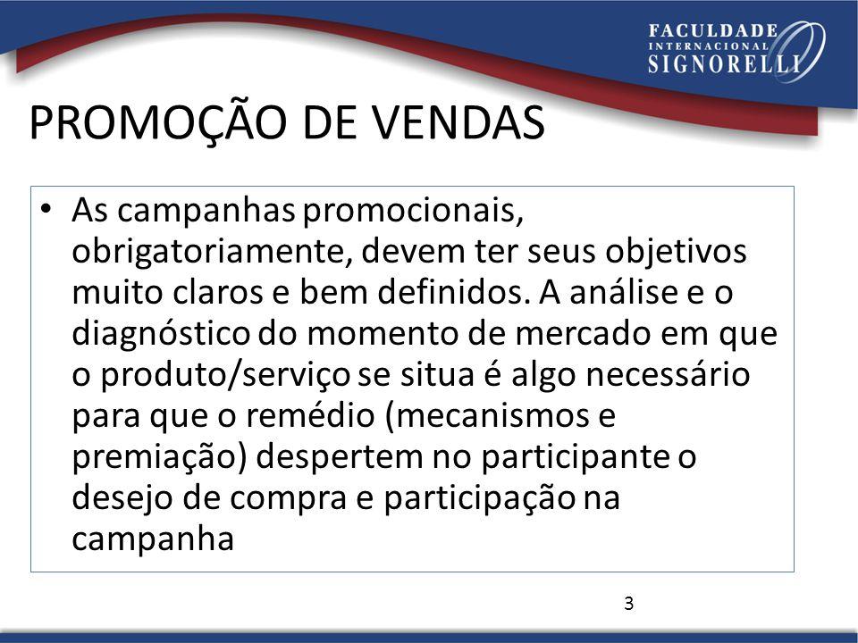 PROMOÇÃO DE VENDAS As campanhas promocionais, obrigatoriamente, devem ter seus objetivos muito claros e bem definidos. A análise e o diagnóstico do mo