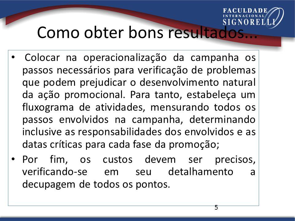 Como obter bons resultados... Colocar na operacionalização da campanha os passos necessários para verificação de problemas que podem prejudicar o dese