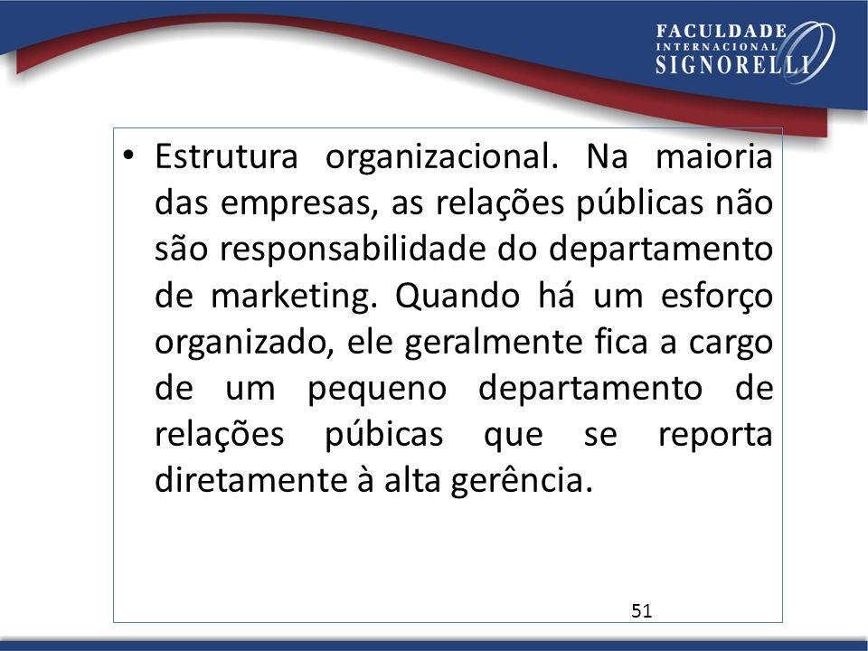 Estrutura organizacional. Na maioria das empresas, as relações públicas não são responsabilidade do departamento de marketing. Quando há um esforço or