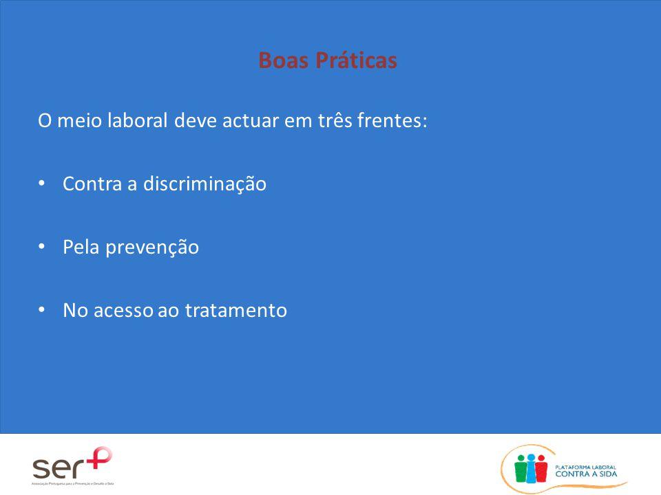 Boas Práticas O meio laboral deve actuar em três frentes: Contra a discriminação Pela prevenção No acesso ao tratamento