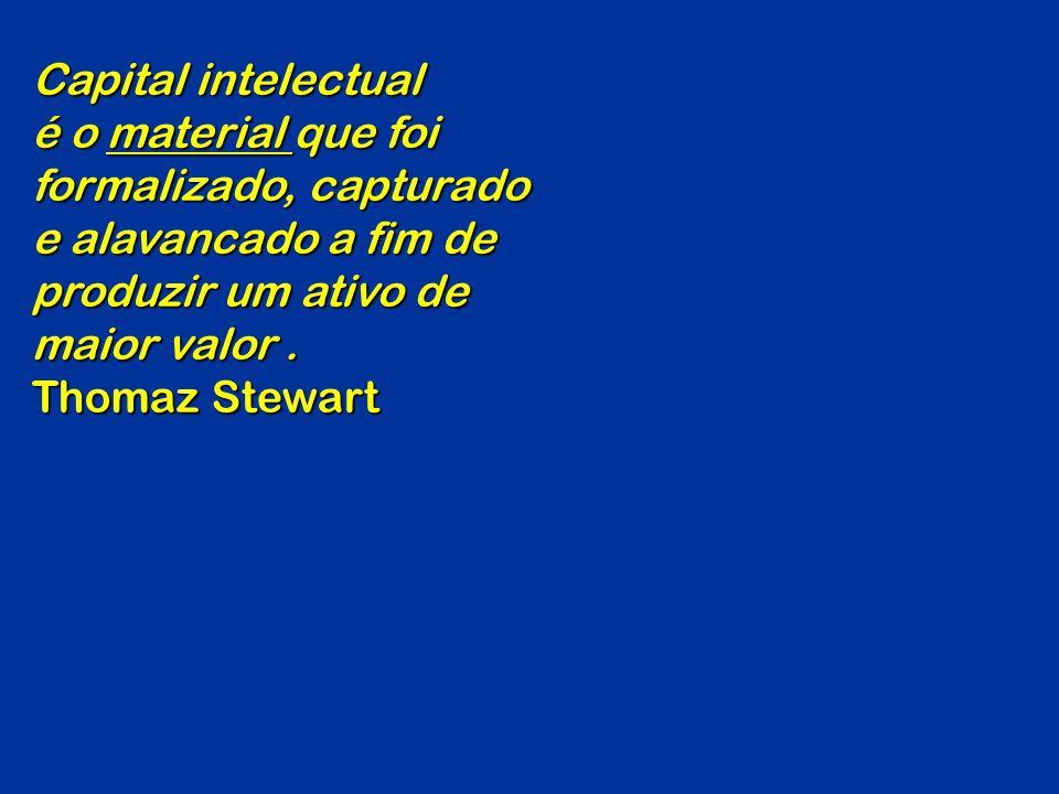 Capital intelectual é o material que foi formalizado, capturado e alavancado a fim de produzir um ativo de maior valor. Thomaz Stewart