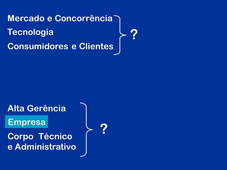 Mercado e Concorrência Tecnologia Consumidores e Clientes Alta Gerência Empresa Corpo Técnico e Administrativo ? ?