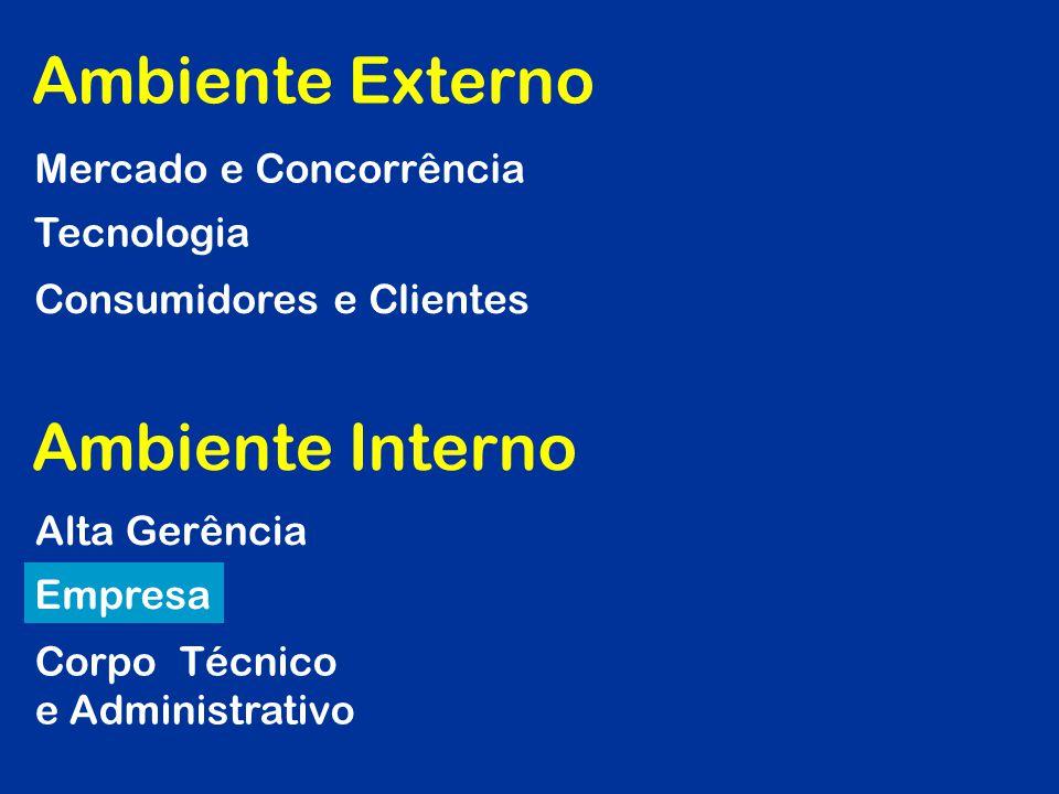 Mercado e Concorrência Tecnologia Consumidores e Clientes Alta Gerência Empresa Corpo Técnico e Administrativo Ambiente Externo Ambiente Interno