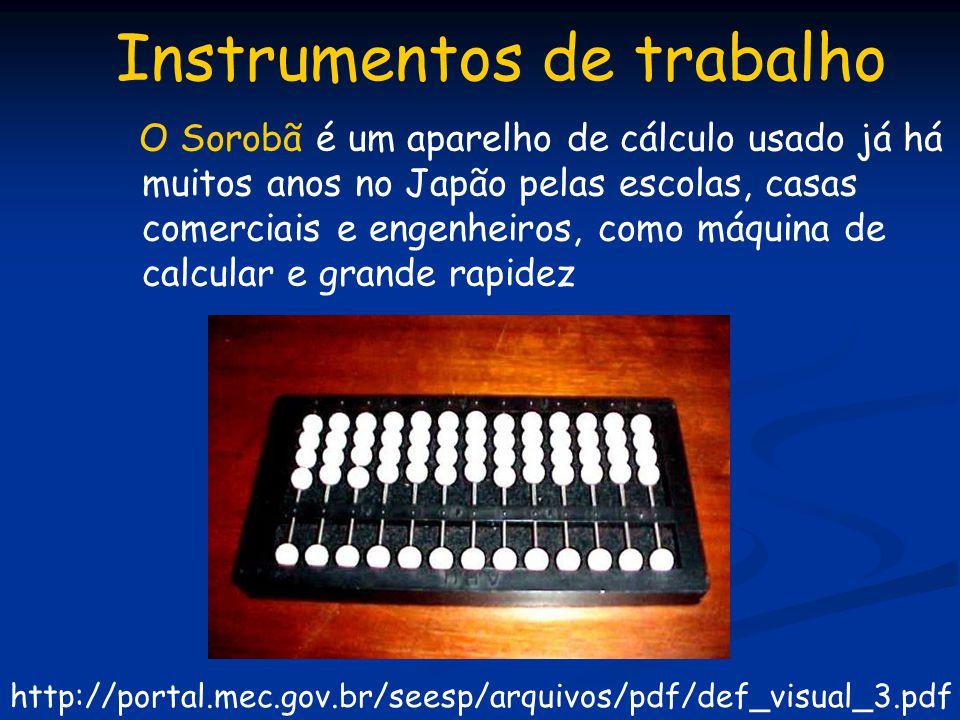 Instrumentos de trabalho O Sorobã é um aparelho de cálculo usado já há muitos anos no Japão pelas escolas, casas comerciais e engenheiros, como máquin