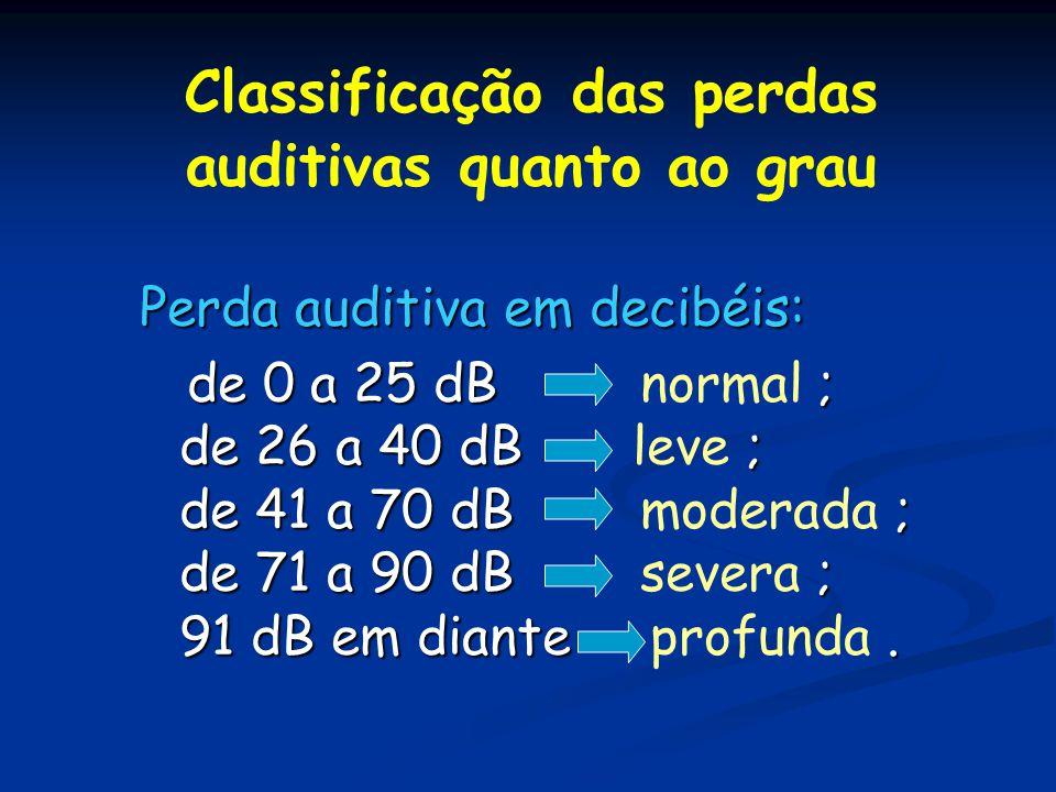 Classificação das perdas auditivas quanto ao grau Perda auditiva em decibéis: de 0 a 25 dB ; de 26 a 40 dB ; de 41 a 70 dB ; de 71 a 90 dB ; 91 dB em
