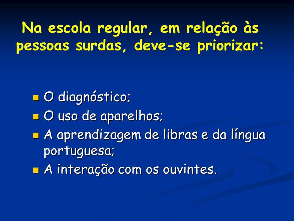 Na escola regular, em relação às pessoas surdas, deve-se priorizar: O diagnóstico; O diagnóstico; O uso de aparelhos; O uso de aparelhos; A aprendizag