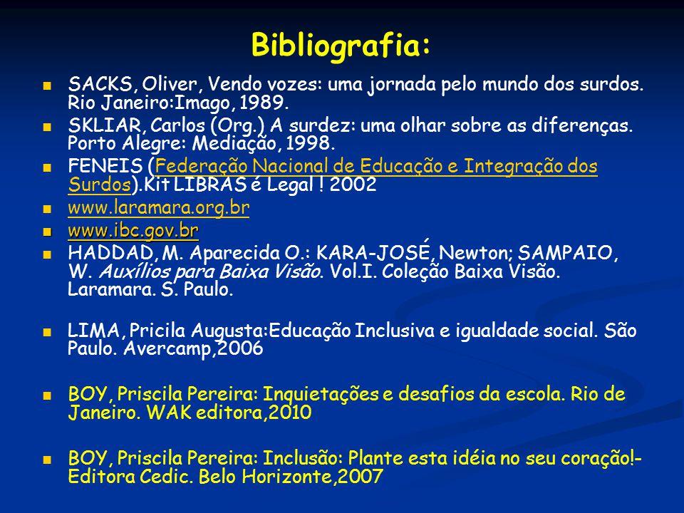Bibliografia: SACKS, Oliver, Vendo vozes: uma jornada pelo mundo dos surdos. Rio Janeiro:Imago, 1989. SKLIAR, Carlos (Org.) A surdez: uma olhar sobre