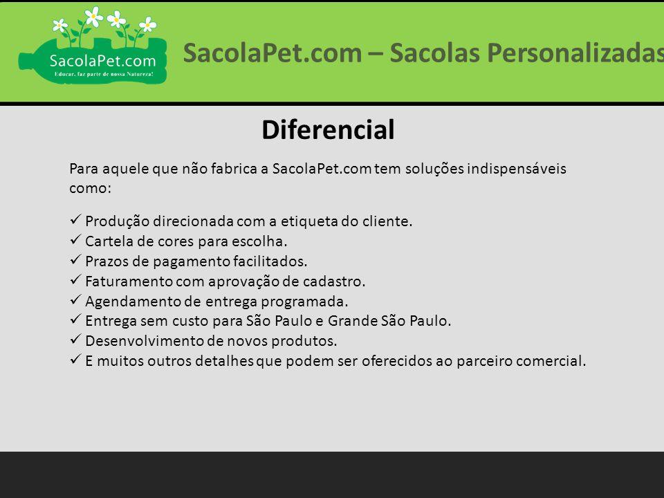 Diferencial Para aquele que não fabrica a SacolaPet.com tem soluções indispensáveis como: Produção direcionada com a etiqueta do cliente. Cartela de c