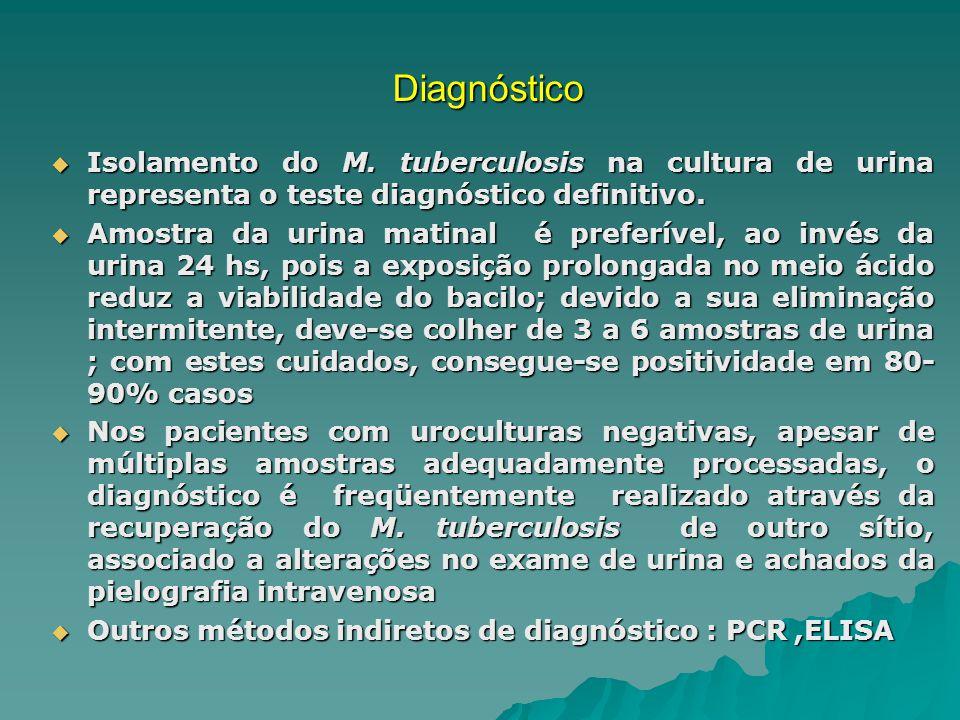 Diagnóstico Isolamento do M. tuberculosis na cultura de urina representa o teste diagnóstico definitivo. Isolamento do M. tuberculosis na cultura de u