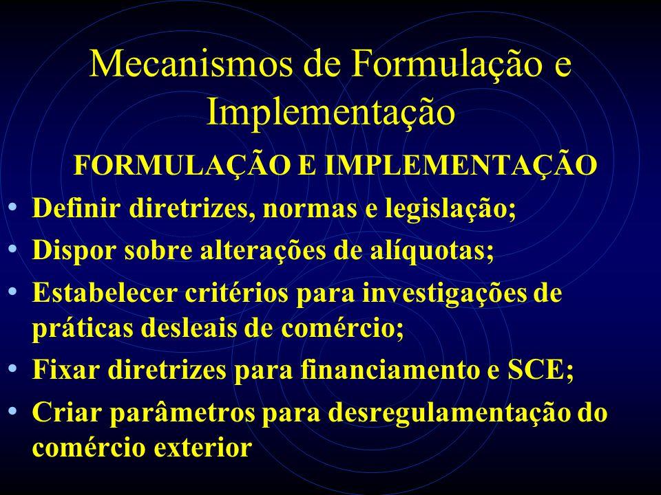 Mecanismos de Formulação e Implementação FORMULAÇÃO E IMPLEMENTAÇÃO Definir diretrizes, normas e legislação; Dispor sobre alterações de alíquotas; Est