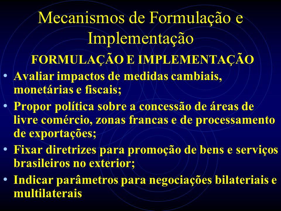 Mecanismos de Formulação e Implementação FORMULAÇÃO E IMPLEMENTAÇÃO Avaliar impactos de medidas cambiais, monetárias e fiscais; Propor política sobre